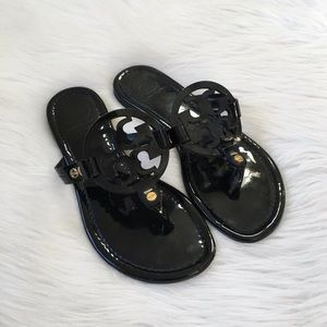 Tory Burch Black Miller Logo Thong Sandals
